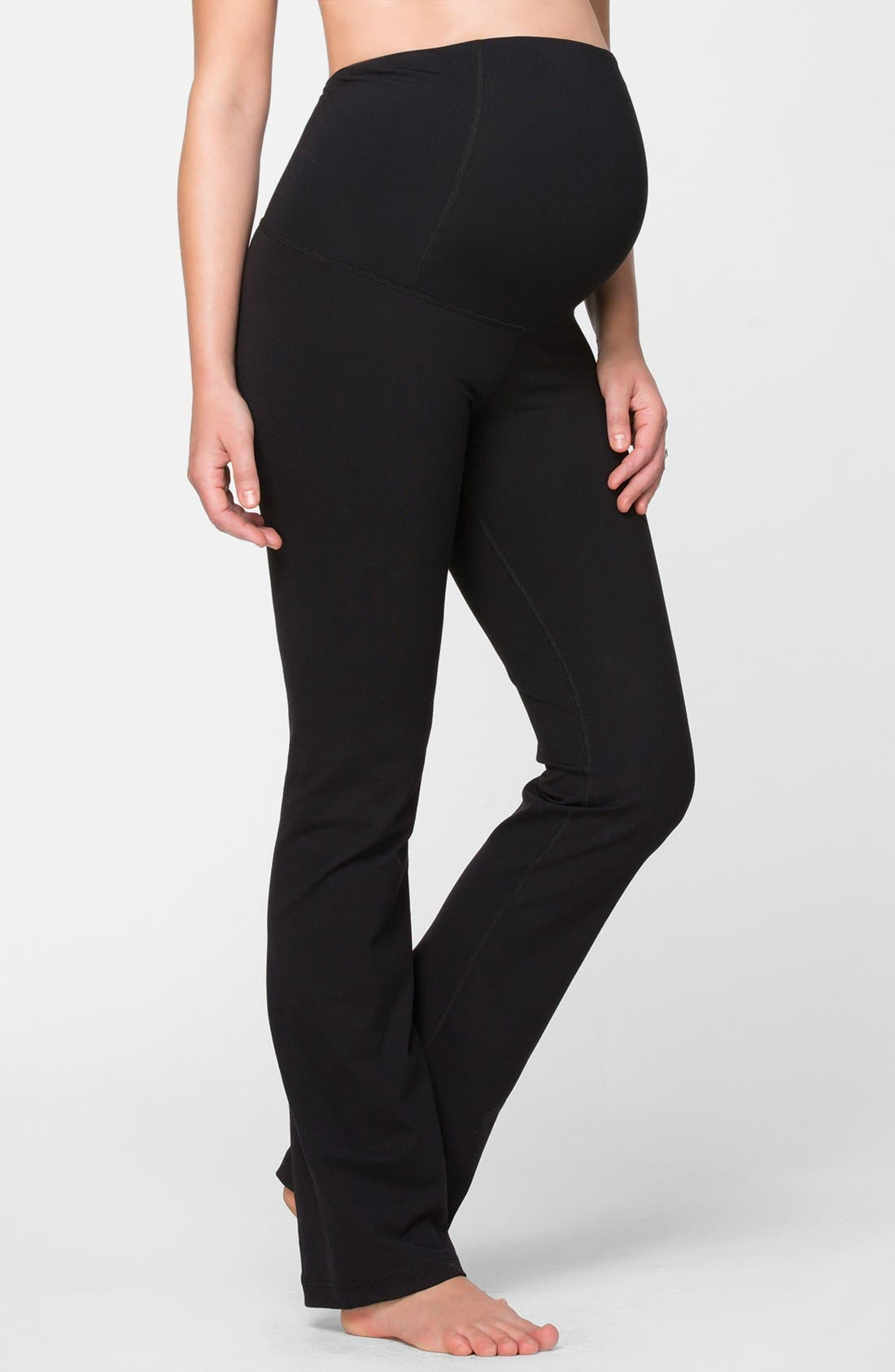 Active Maternity Pants with Crossover Panel,                             Main thumbnail 1, color,                             Jet Black