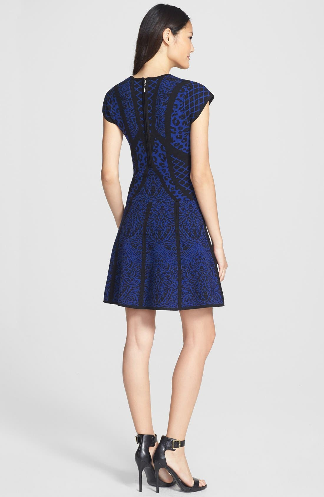 Alternate Image 2  - Nicole Miller Mixed Pattern Fit & Flare Sweater Dress