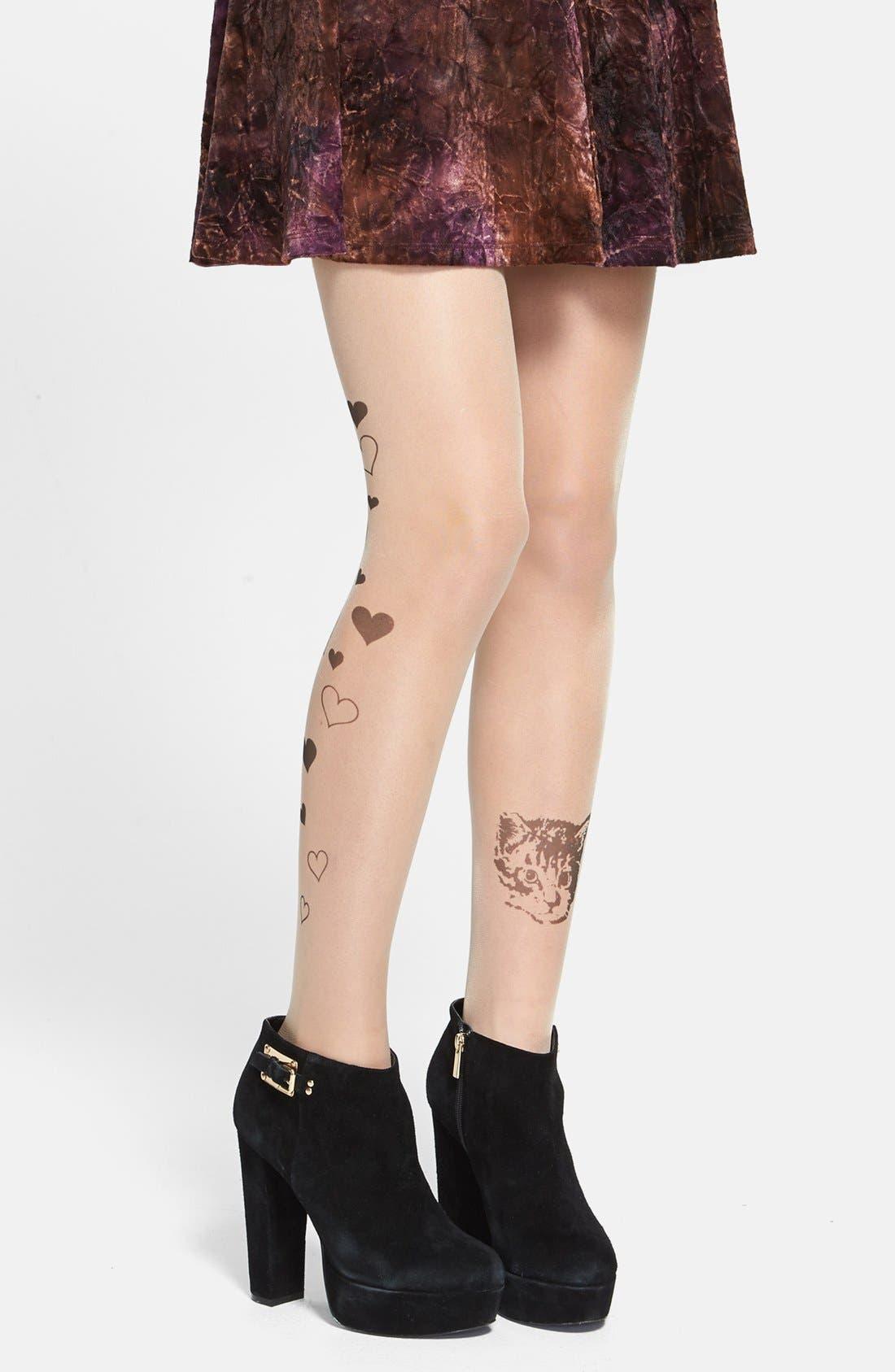 Main Image - BP. 'Kitty & Heart Tattoo' Tights (Juniors)