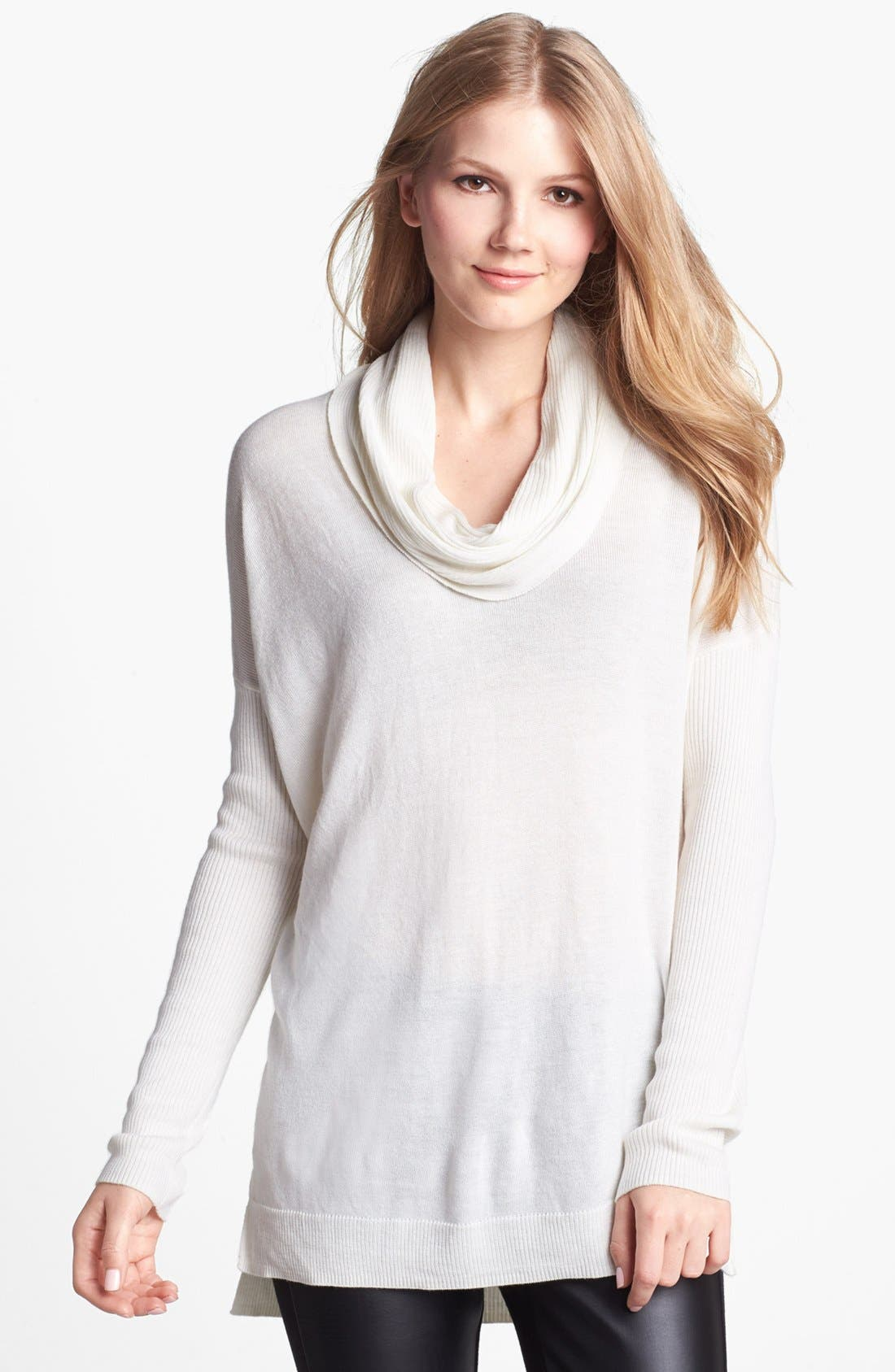 Main Image - Vince Camuto Ribbed Cowl Neck Tunic (Regular & Petite)