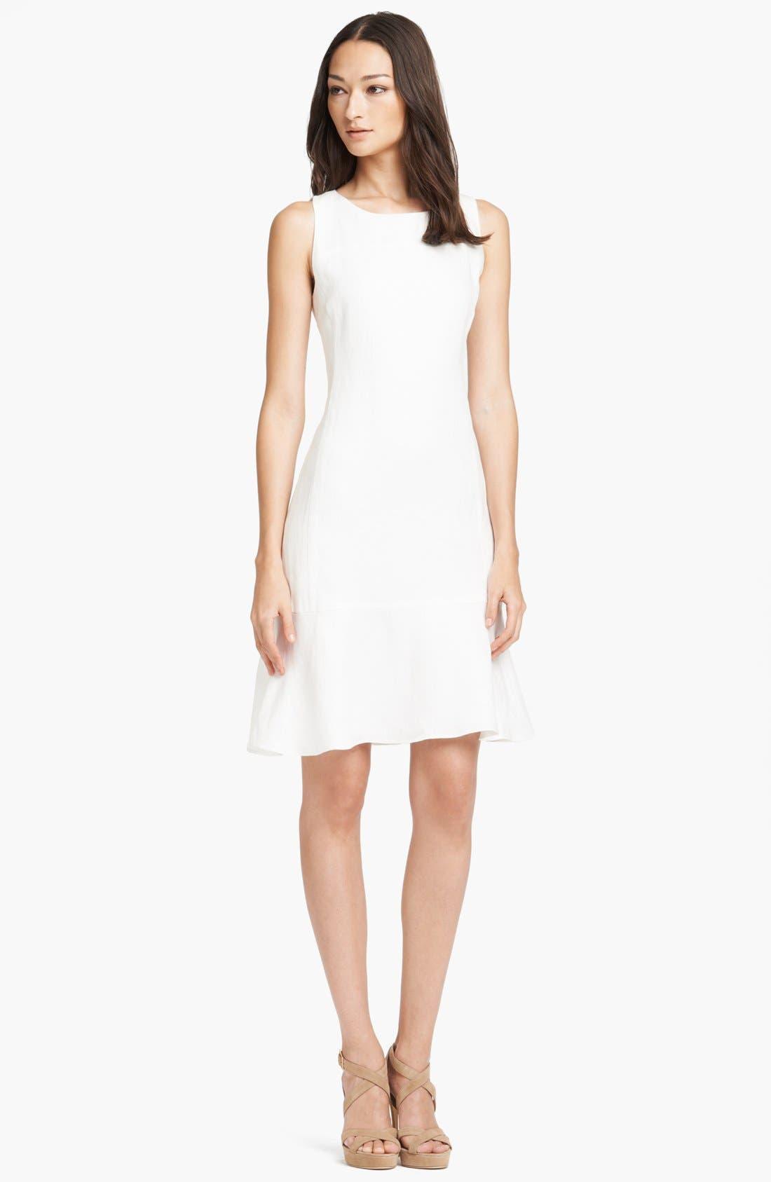 Main Image - Armani Collezioni Sleeveless Flounce Skirt Linen Dress