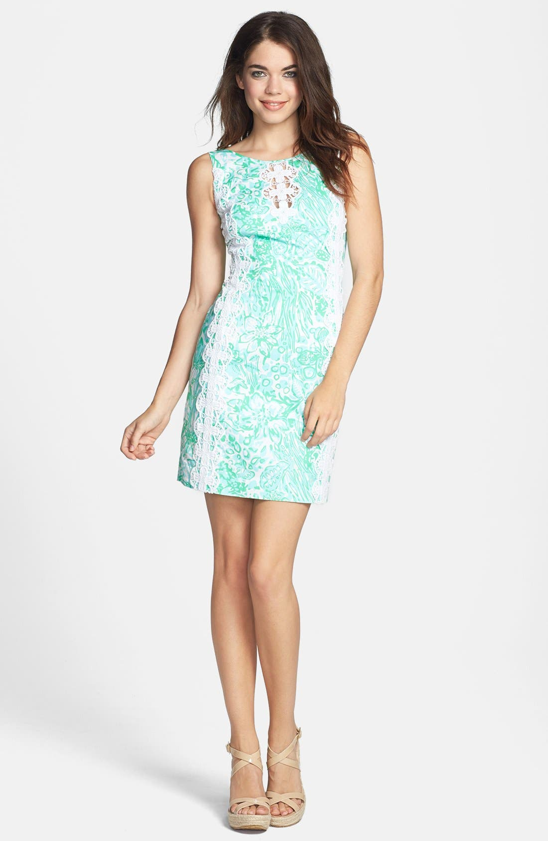 Main Image - Lilly Pulitzer® 'Ember' Lace Trim Print Twill Dress