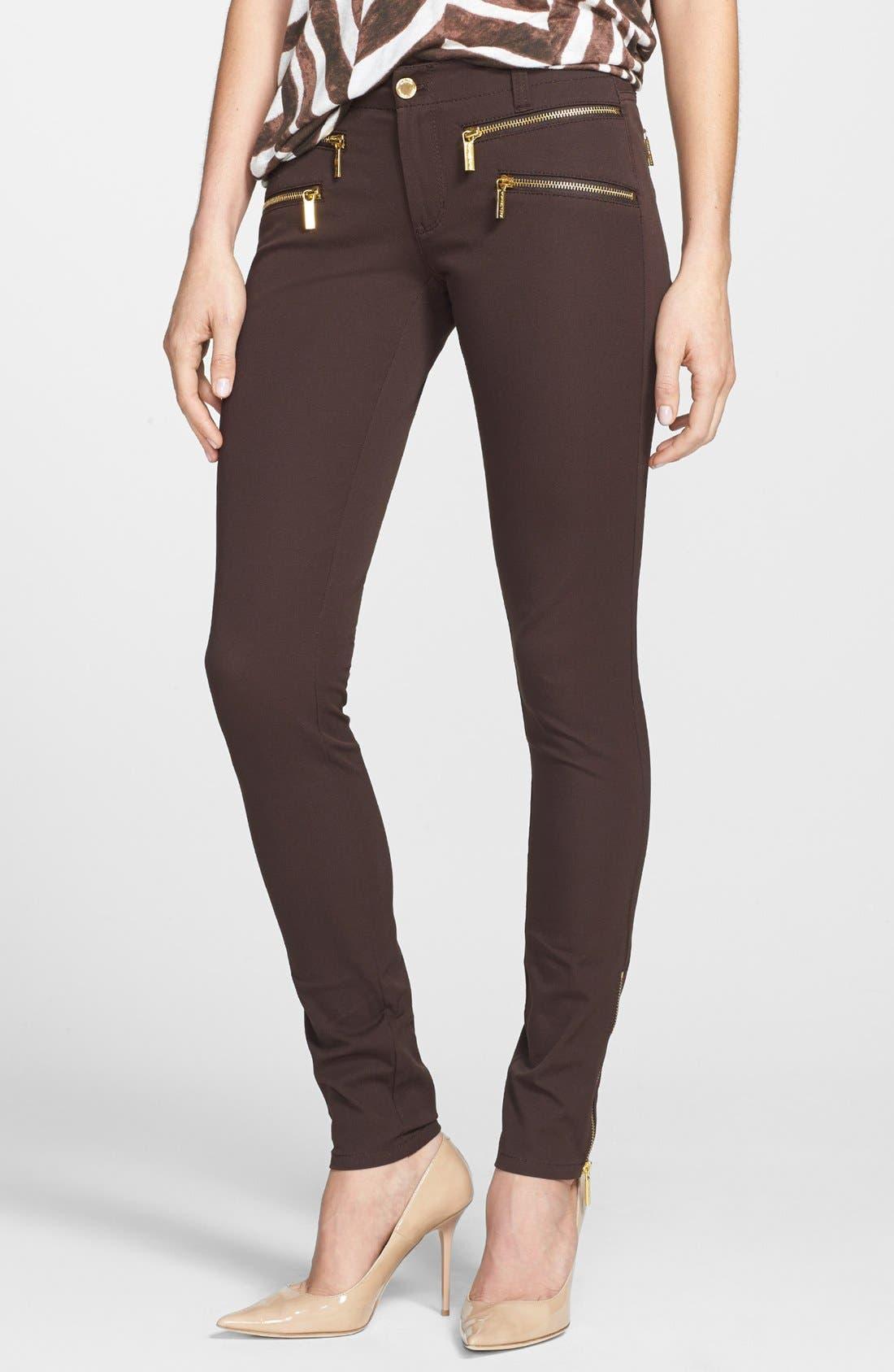 Alternate Image 1 Selected - MICHAEL Michael Kors 'Rocker' Zip Twill Pants