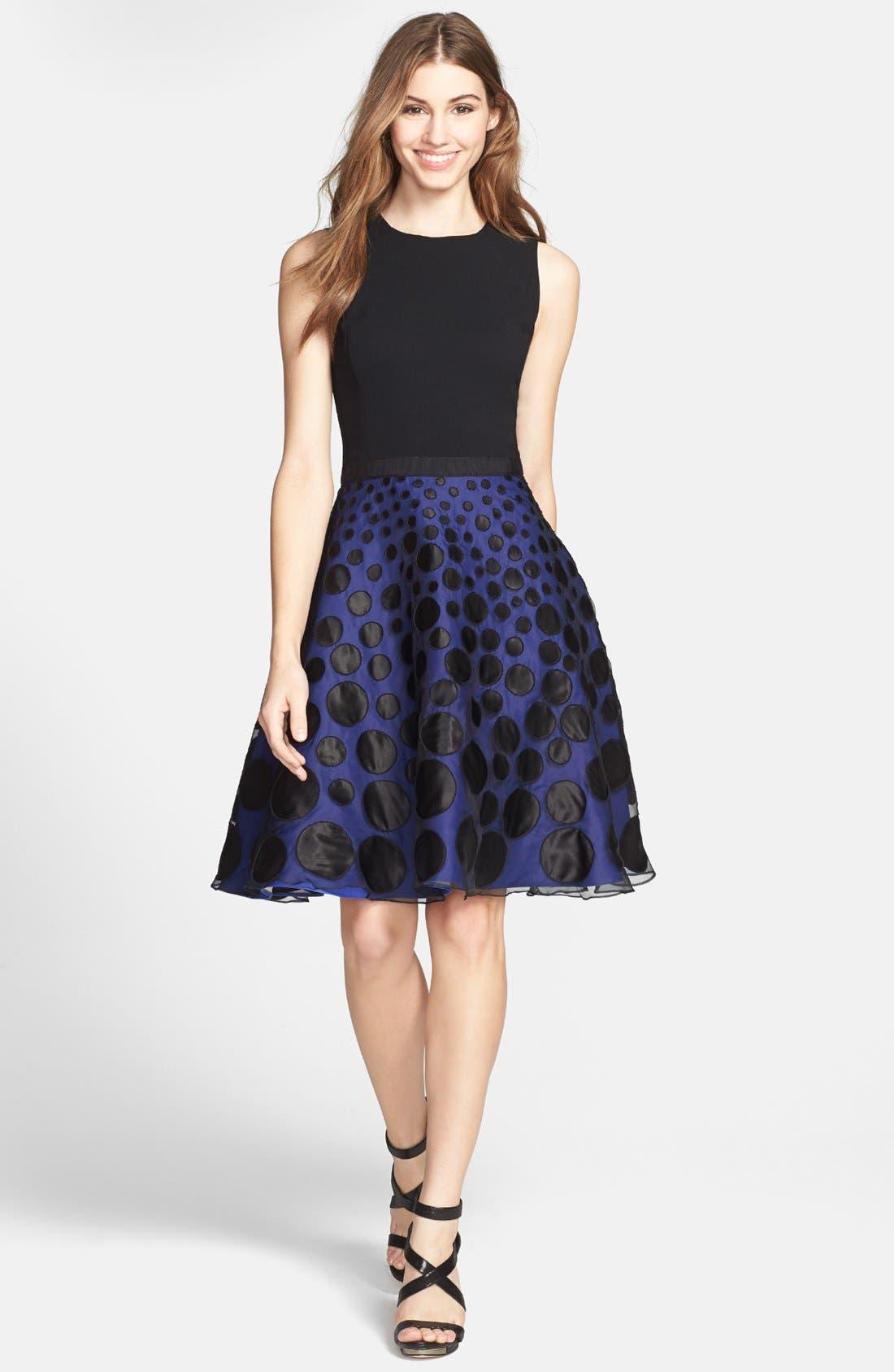 Mixed Media Fit & Flare Dress,                             Main thumbnail 1, color,                             Black/ Royal Blue