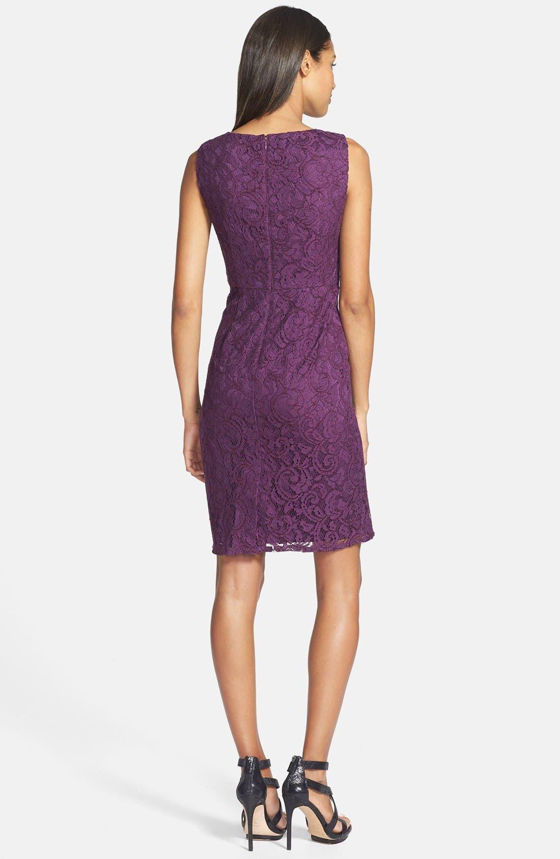 Alternate Image 2  - Adrianna Papell Sleeveless Pleated Lace Sheath Dress