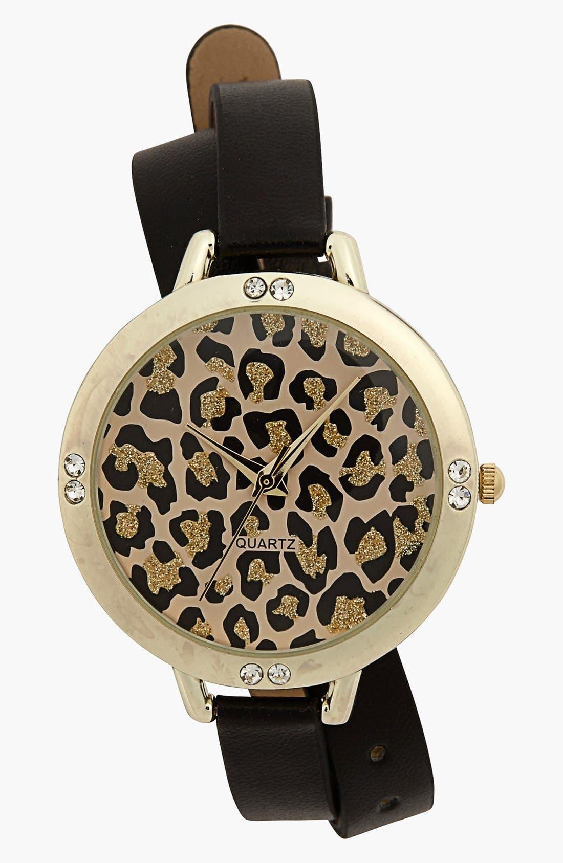 Main Image - Titanium Leopard Face Double Wrap Watch, 45mm (Juniors)
