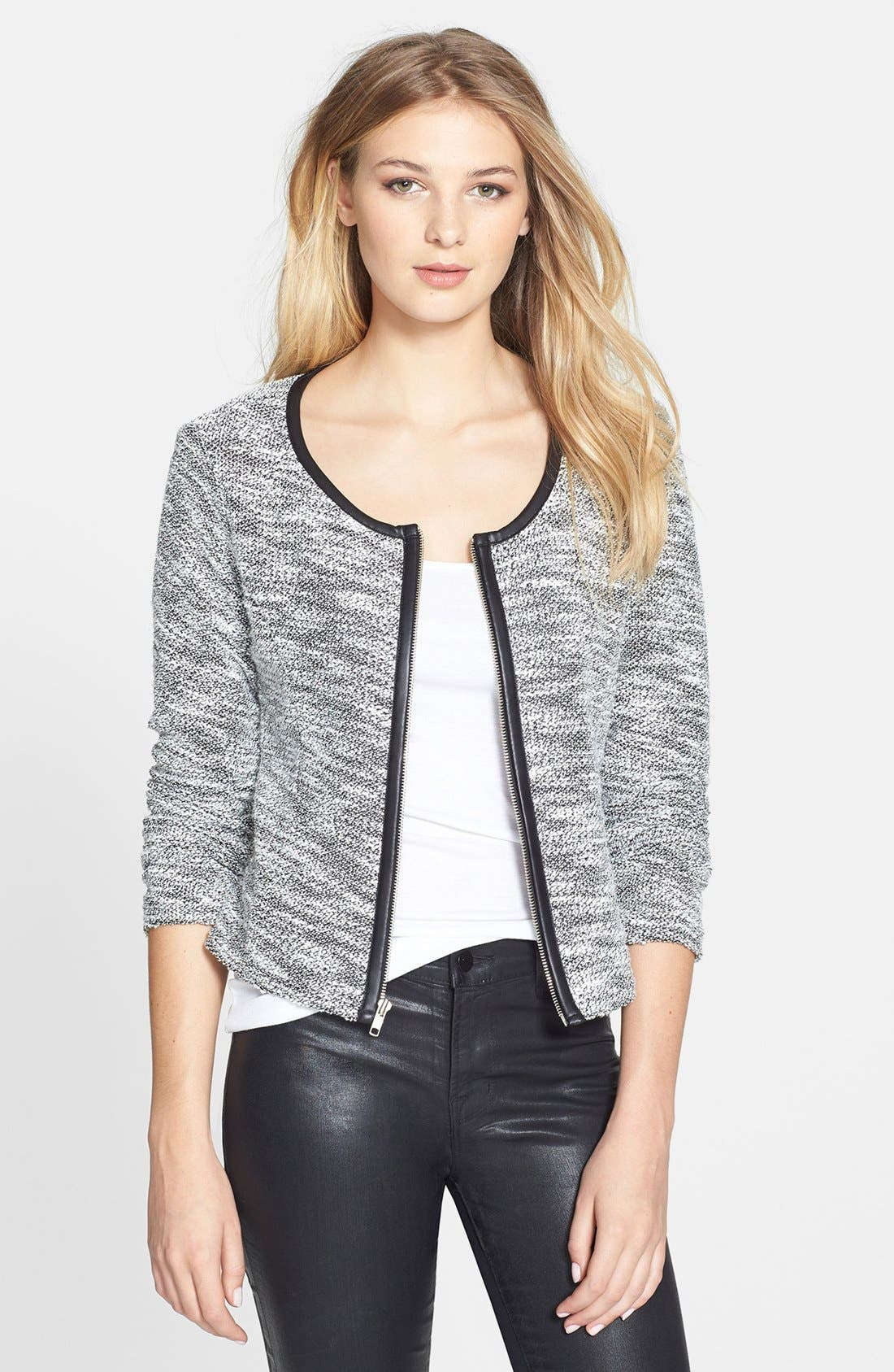 Alternate Image 1 Selected - Bobeau Faux Leather Trim Jacket
