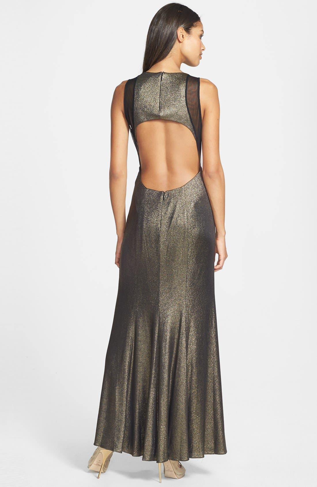 Alternate Image 2  - Hailey by Adrianna Papell Illusion Cutout Metallic Gown