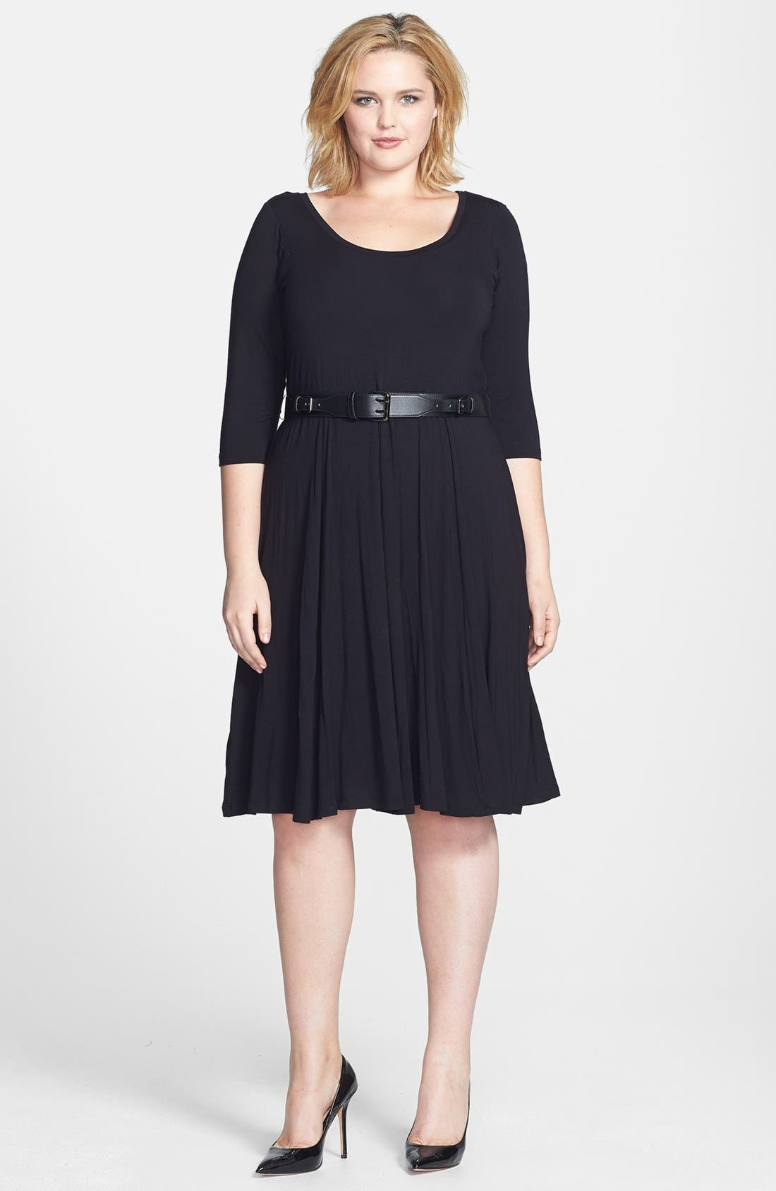 Alternate Image 1 Selected - Calvin Klein Belted Jersey Fit & Flare Dress (Plus Size)