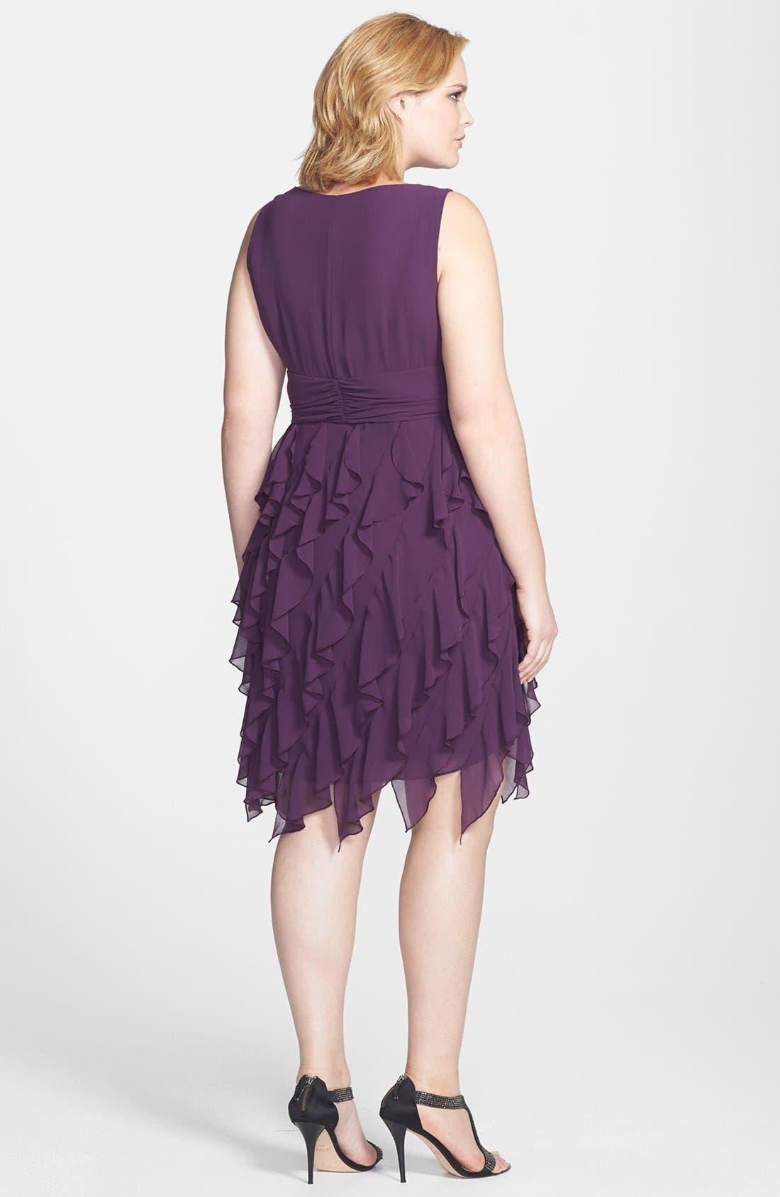 Alternate Image 2  - Ivy & Blu V-Neck Ruffled Skirt Chiffon Dress (Plus Size)