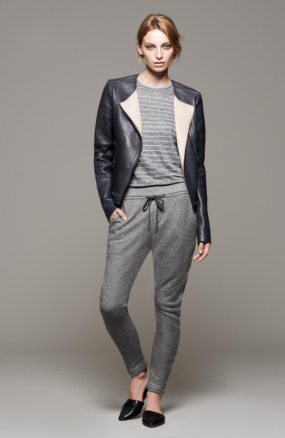 Main Image - Vince Leather Jacket, Tee & Sweatpants