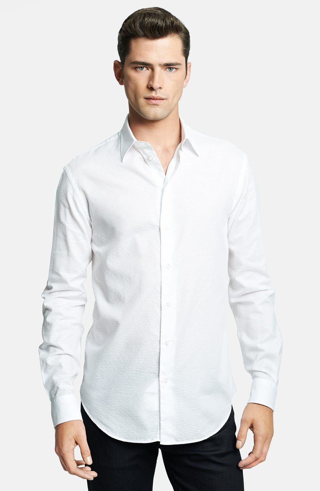 Modern Fit Geometric Textured Sport Shirt,                         Main,                         color, White 2