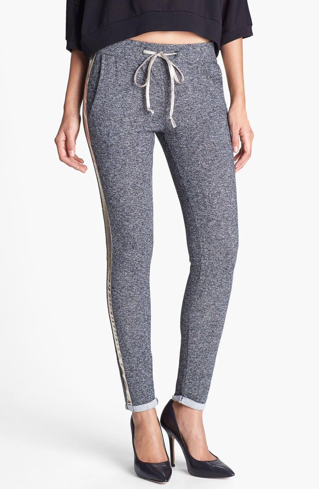 Alternate Image 1 Selected - Faubourg du Temple Faux Leather Trim Tapered Track Pants