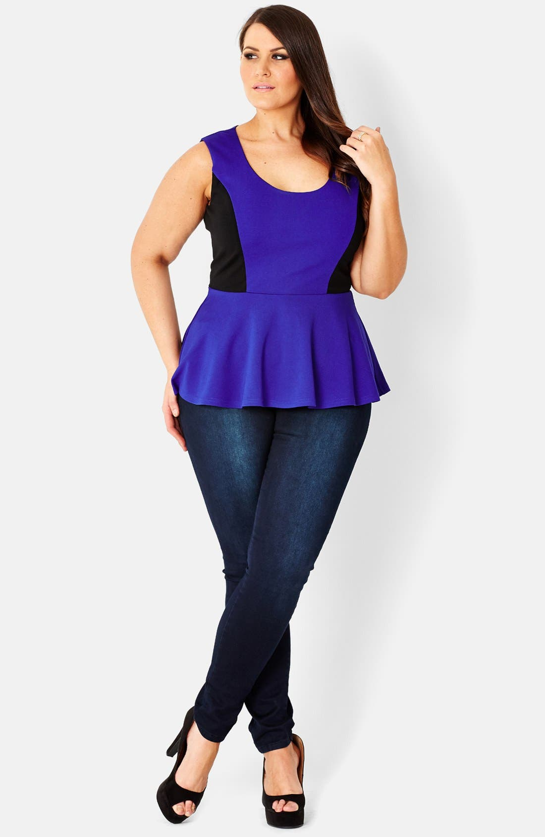 Alternate Image 1 Selected - City Chic Colorblock Sleeveless Peplum Top (Plus Size)