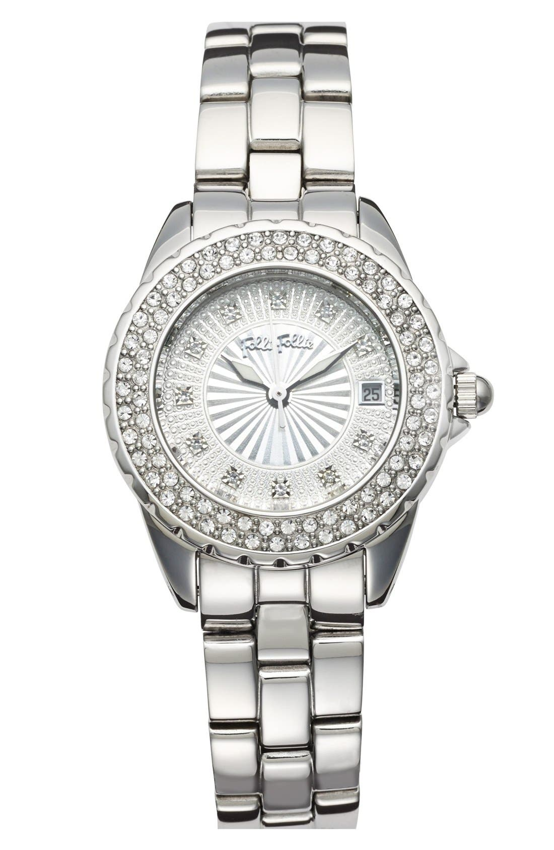Alternate Image 1 Selected - Folli Follie 'Daydream' Crystal Bezel Bracelet Watch, 29mm