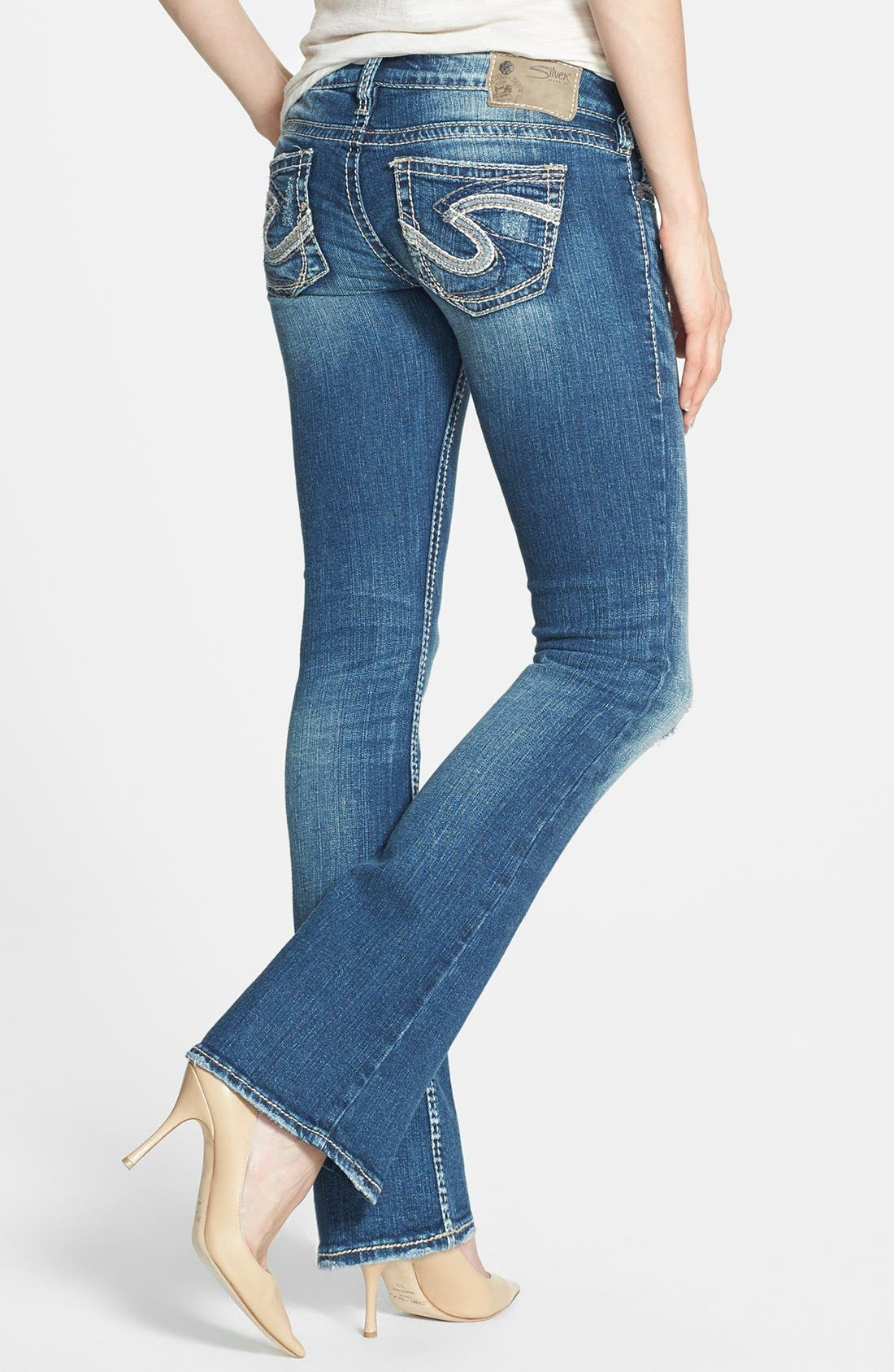 Alternate Image 2  - Silver Jeans Co. 'Tuesday' Distressed Bootcut Jeans (Indigo)