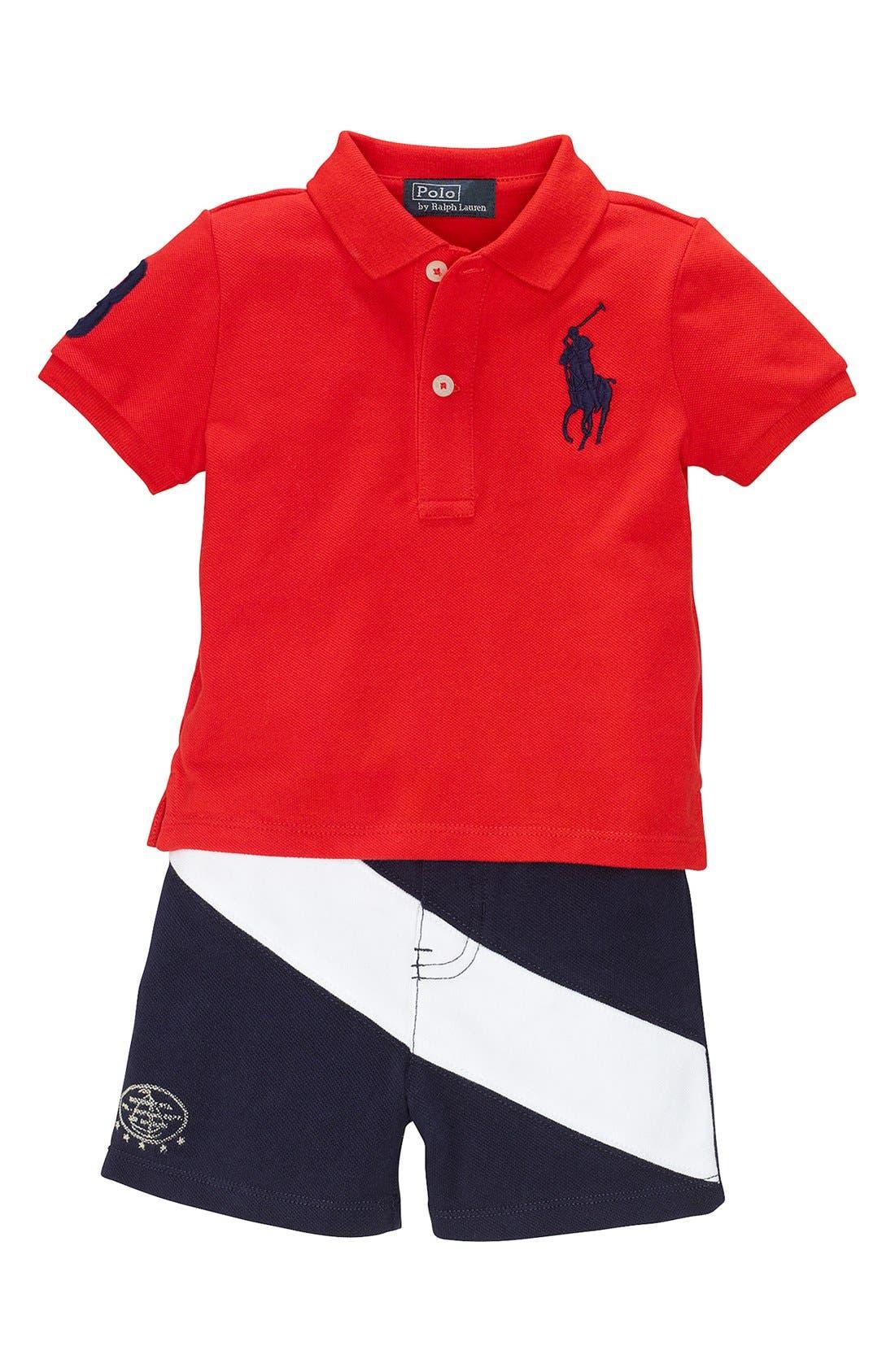 Main Image - Ralph Lauren Polo & Banner Stripe Shorts (Baby Boys)
