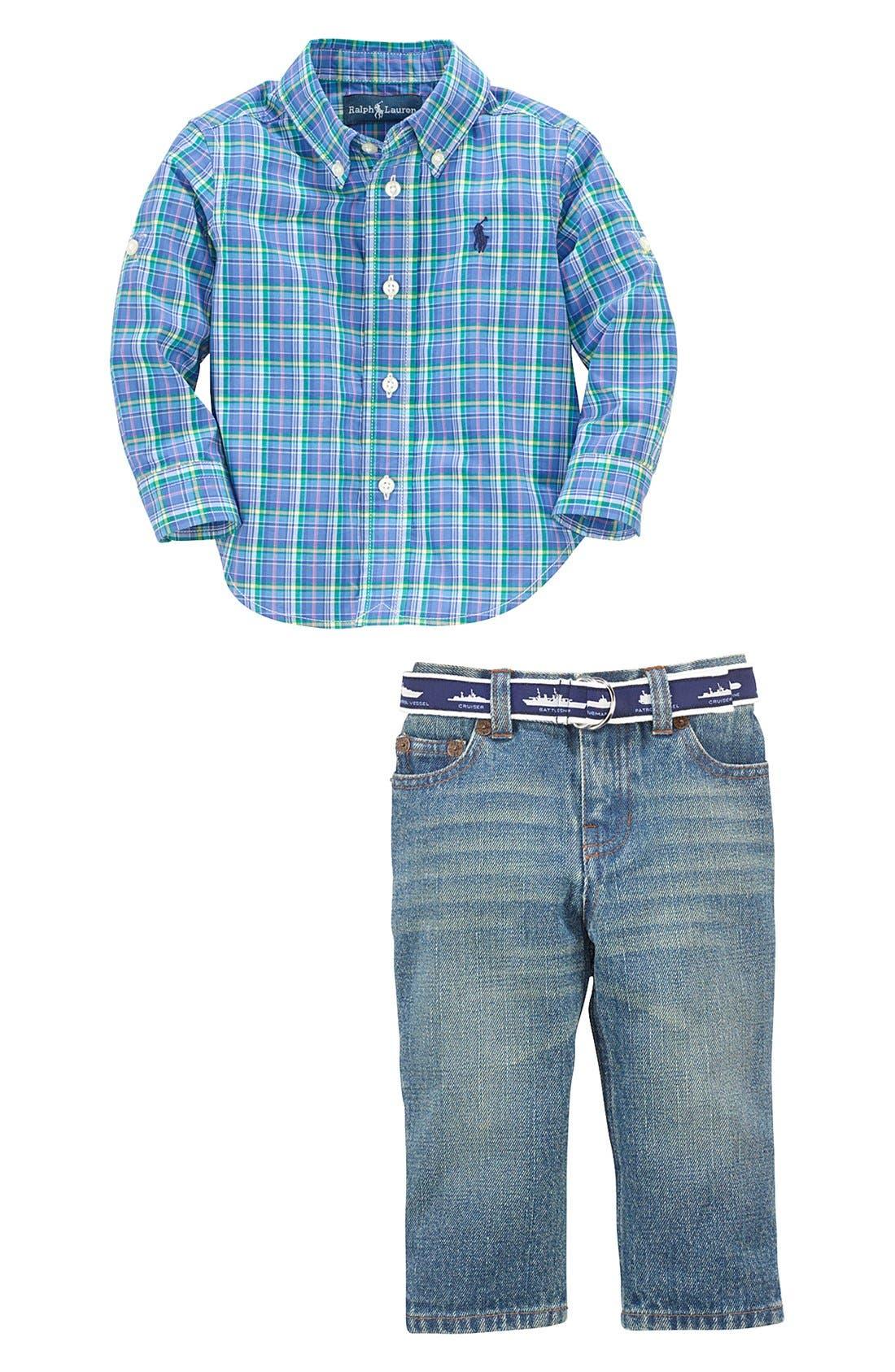 Alternate Image 3  - Ralph Lauren Plaid Sport Shirt & Jeans (Baby Boys)