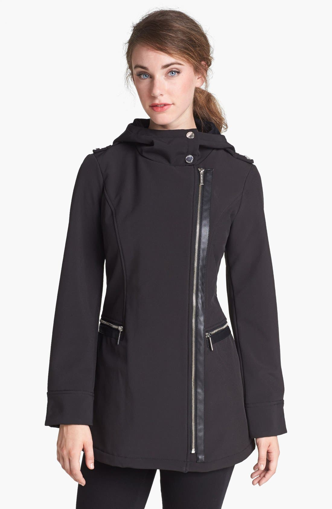 Alternate Image 1 Selected - MICHAEL Michael Kors Faux Leather Trim Soft Shell Jacket (Petite)