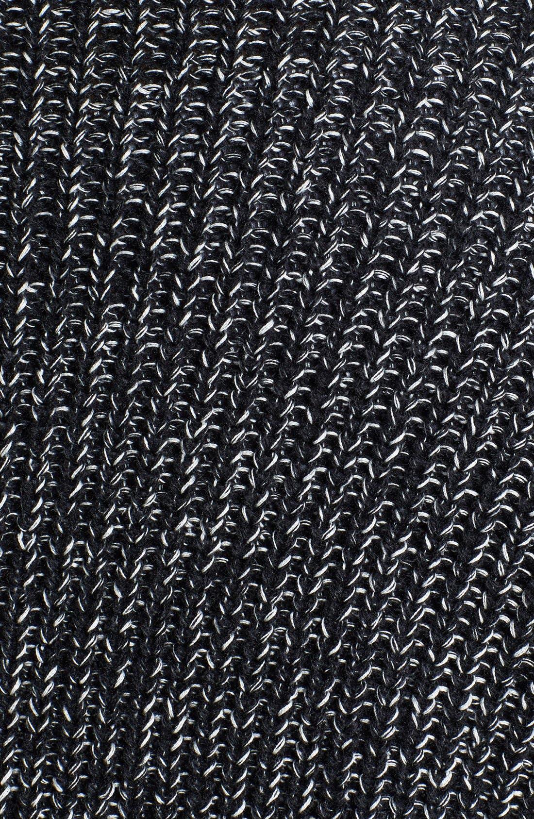Alternate Image 3  - Sejour Faux Leather Trim Open Front Knit Jacket (Plus Size)
