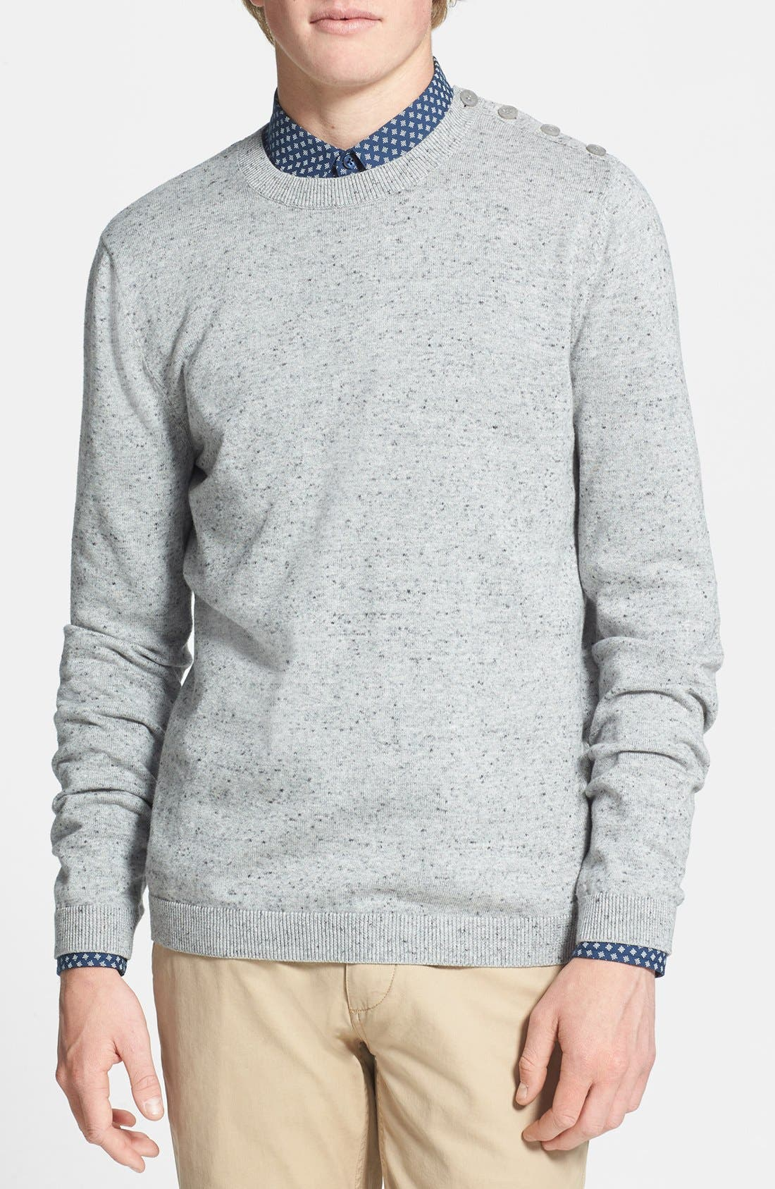 Alternate Image 1 Selected - Topman Shoulder Placket Crewneck Sweater