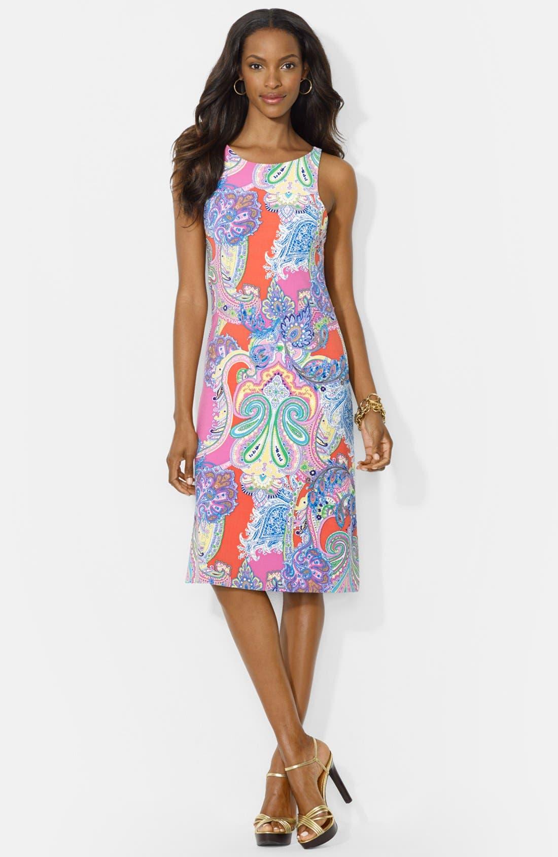 Main Image - Lauren Ralph Lauren Paisley Print Sleeveless Crewneck Dress (Petite)