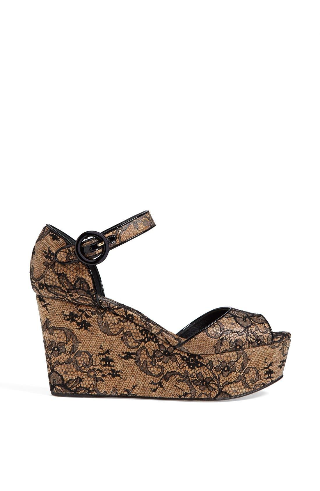 Alternate Image 4  - Dolce&Gabbana Lace Wedge Sandal