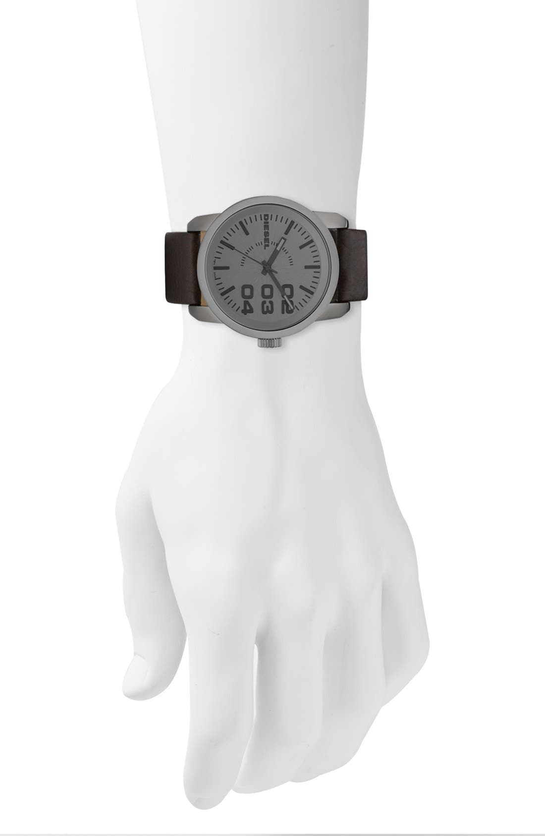 Alternate Image 4  - DIESEL® 'Franchise' Leather Strap Watch, 46mm