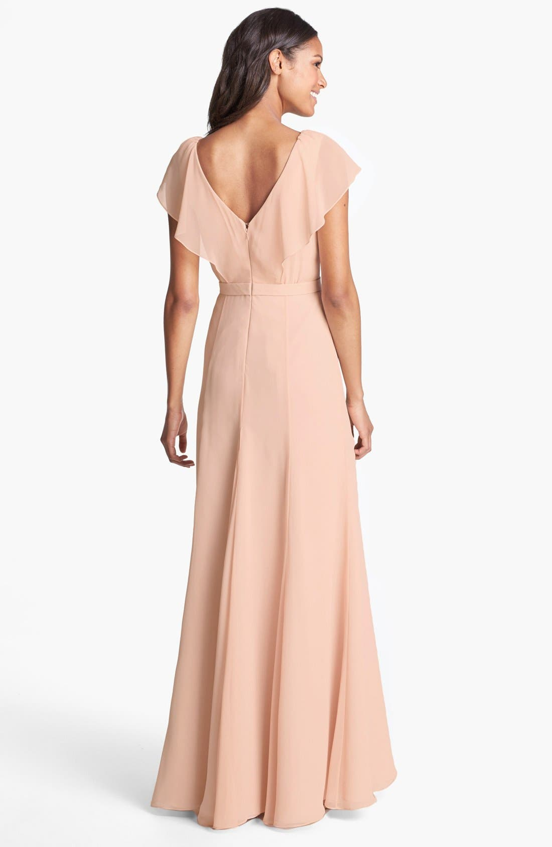 Alternate Image 2  - Jenny Yoo 'Cecilia' Ruffled V-Neck Chiffon Long Dress (Online Only)