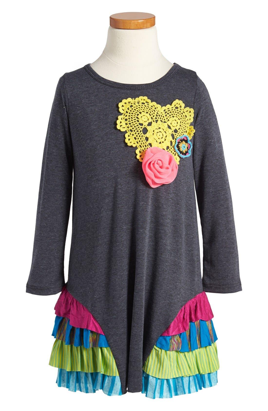 Alternate Image 1 Selected - Twirls & Twigs Knit Ruffle Dress (Little Girls & Big Girls)