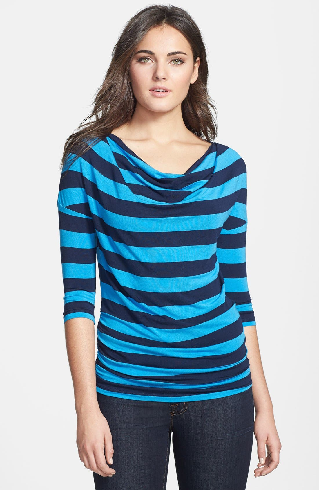 Alternate Image 1 Selected - Caslon® Drape Neck Three Quarter Sleeve Stretch Knit Tee