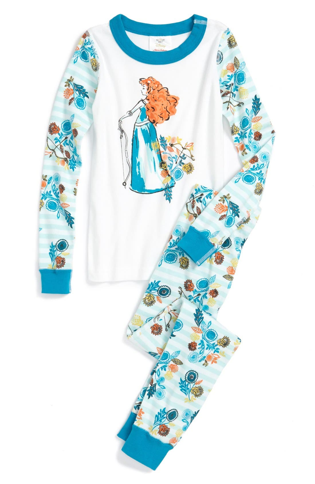 Alternate Image 1 Selected - Hanna Andersson 'Disney™ Princess - Merida' Two-Piece Fitted Pajamas (Toddler Girls)