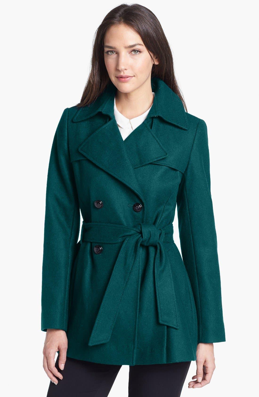 Main Image - Via Spiga Short Wool Blend Trench Coat (Online Only)