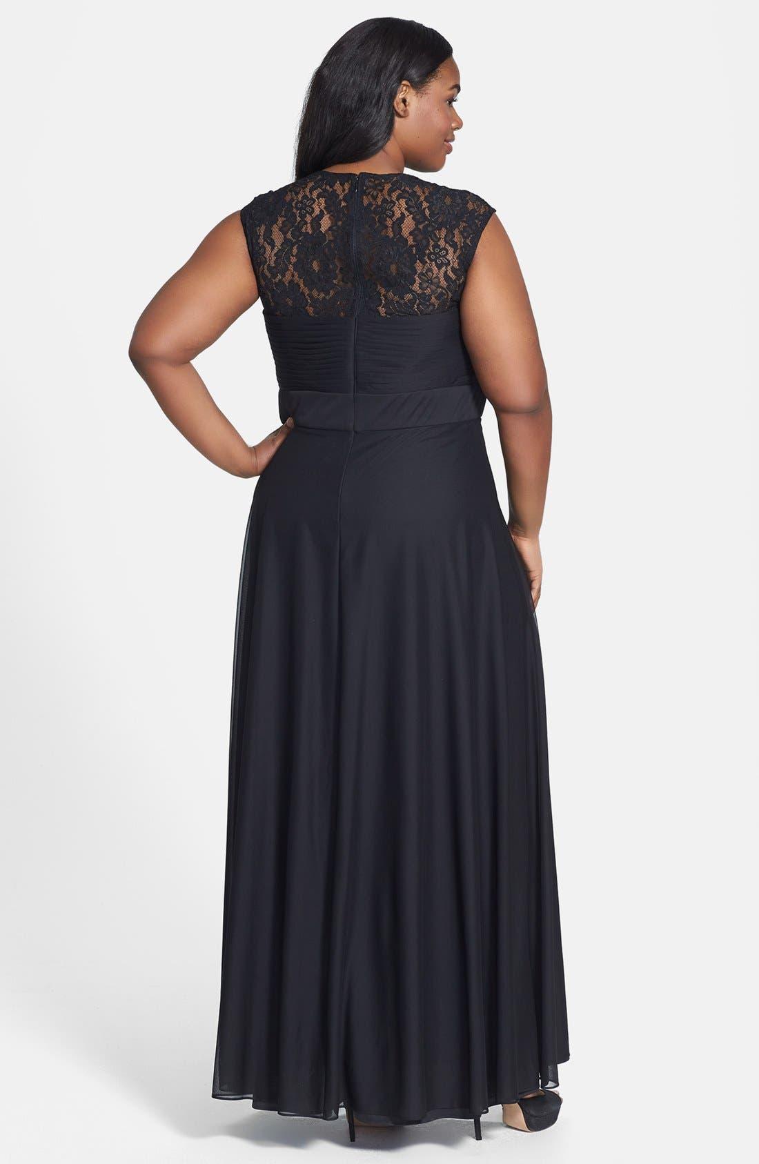 Alternate Image 2  - Xscape Embellished Chiffon & Knit Gown (Plus Size)