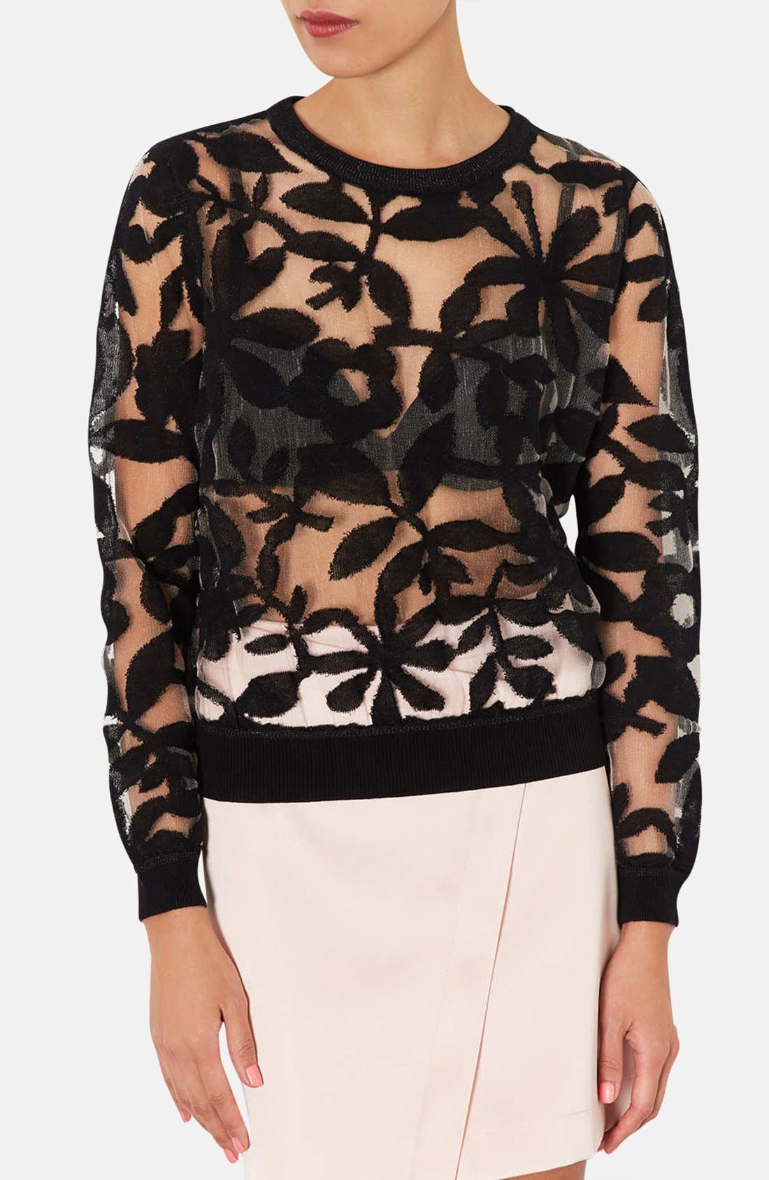 Main Image - Topshop Floral Mesh Sweater