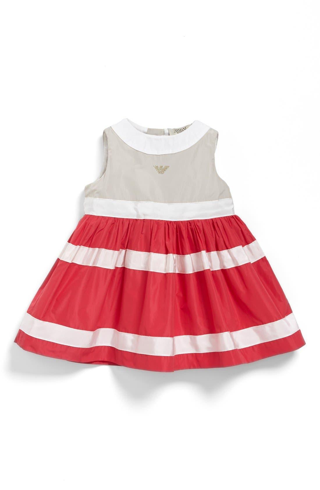 Main Image - Armani Junior Stripe Taffeta Dress (Baby Girls)