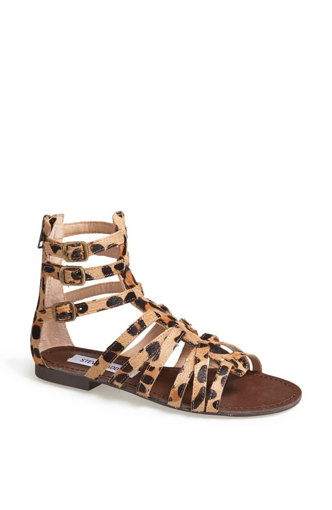 'Plato-S' Sandal,                             Main thumbnail 1, color,                             Leopard Stud