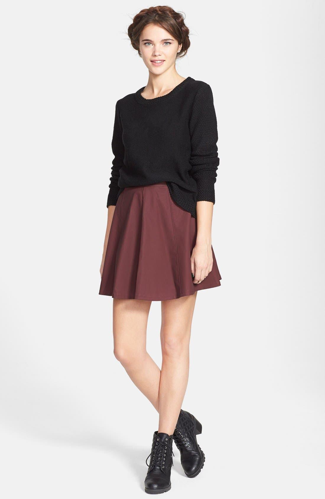 Alternate Image 2  - Lily White Faux Leather Skater Skirt (Juniors)