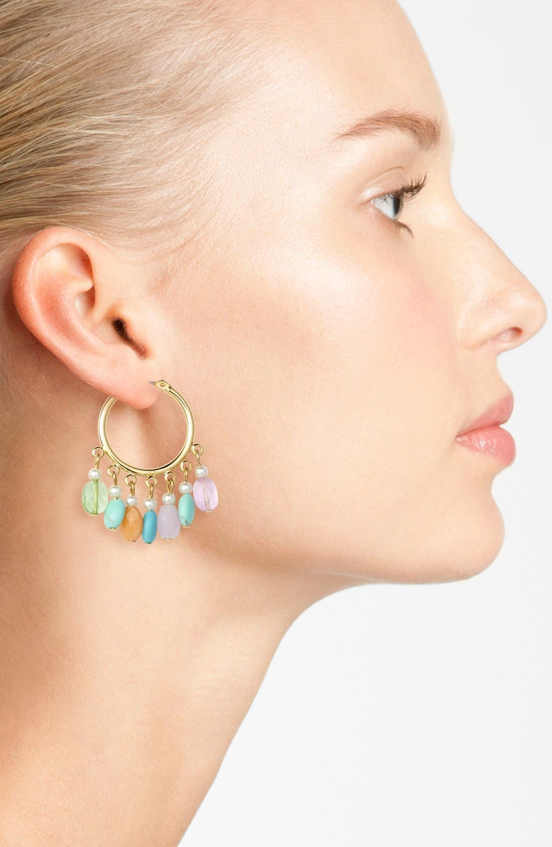 Alternate Image 2  - Lauren Ralph Lauren Beaded Hoop Earrings