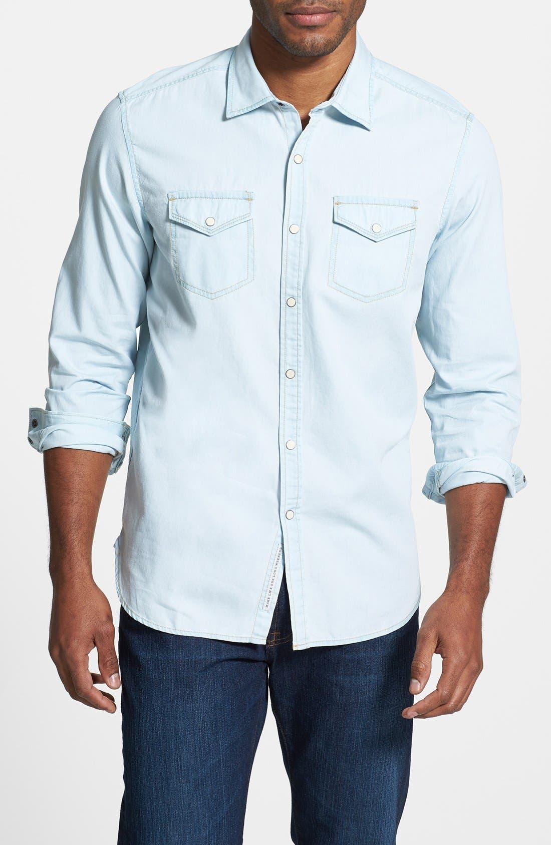 Alternate Image 1 Selected - Tommy Bahama Denim 'By All Seams' Island Modern Fit Denim Sport Shirt