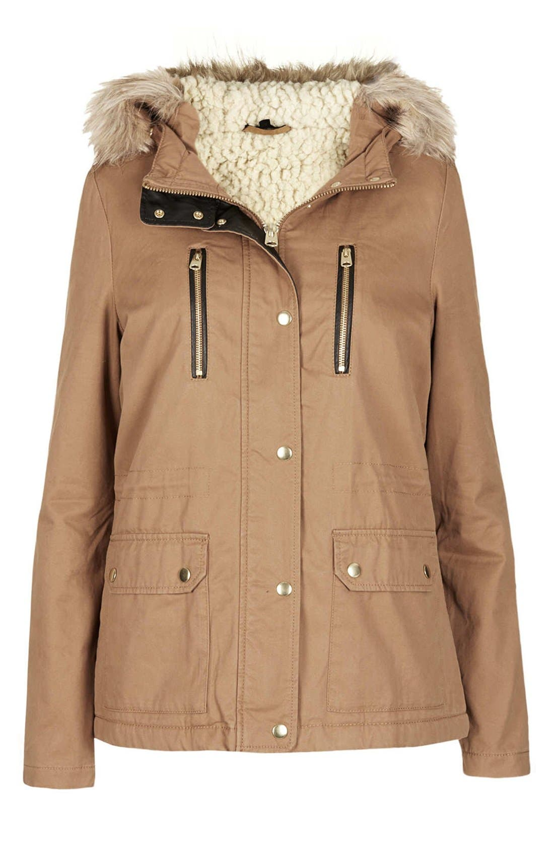 Alternate Image 3  - Topshop Removable Faux Fur Trim Parka