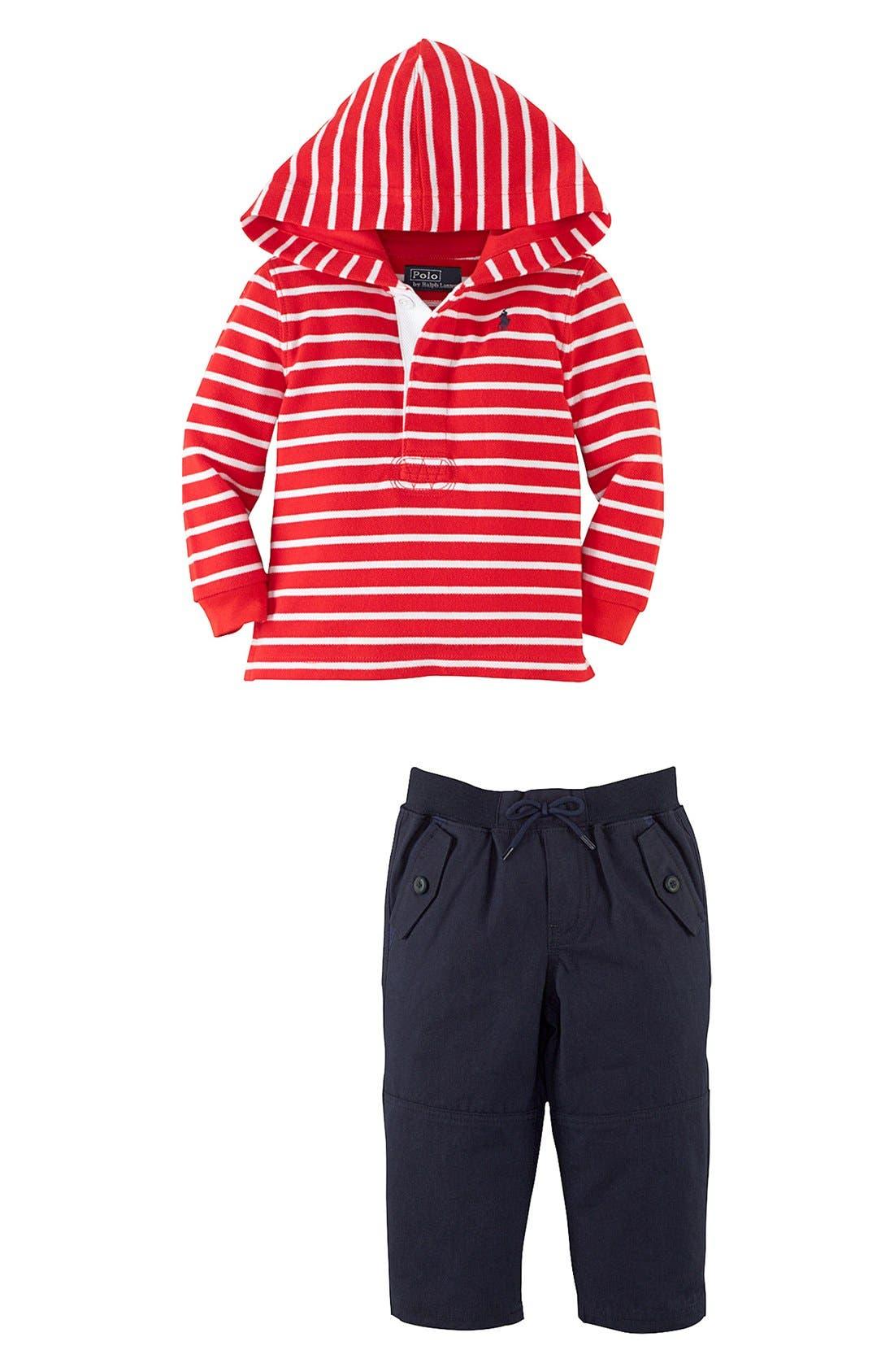 Alternate Image 2  - Ralph Lauren Hooded T-Shirt & Woven Pants (Baby Boys)