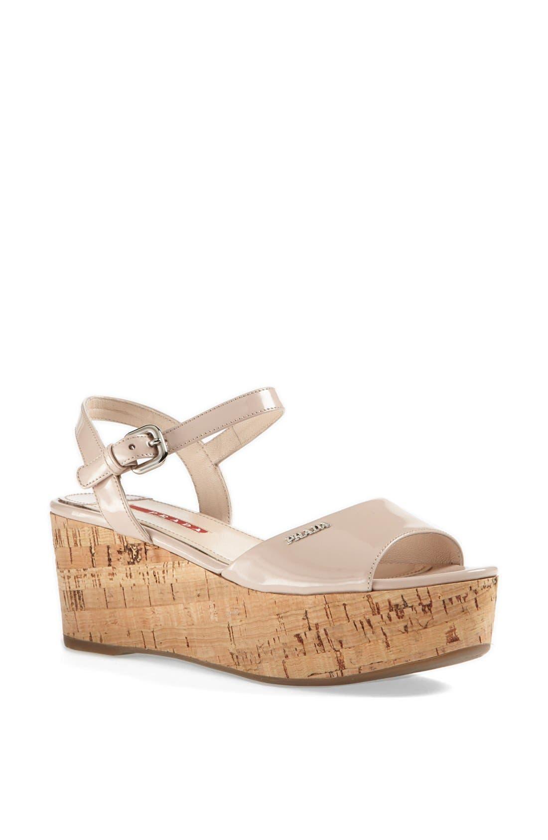 Alternate Image 1 Selected - Prada Quarter Strap Platform Sandal