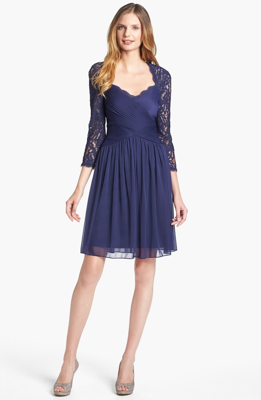 Main Image - Adrianna Papell Lace Sleeve Mesh Fit & Flare Dress (Petite)