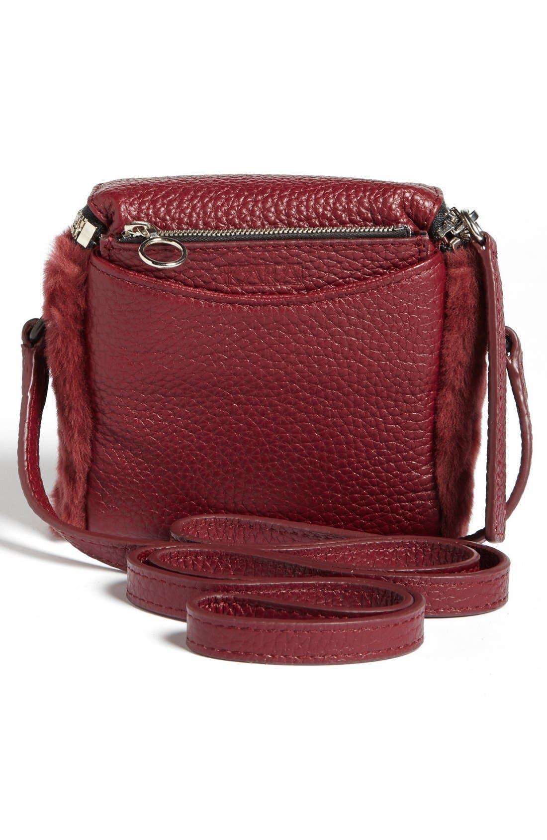 Alternate Image 4  - Kara 'Stowaway' Pebbled Leather & Genuine Shearling Crossbody Bag, Small