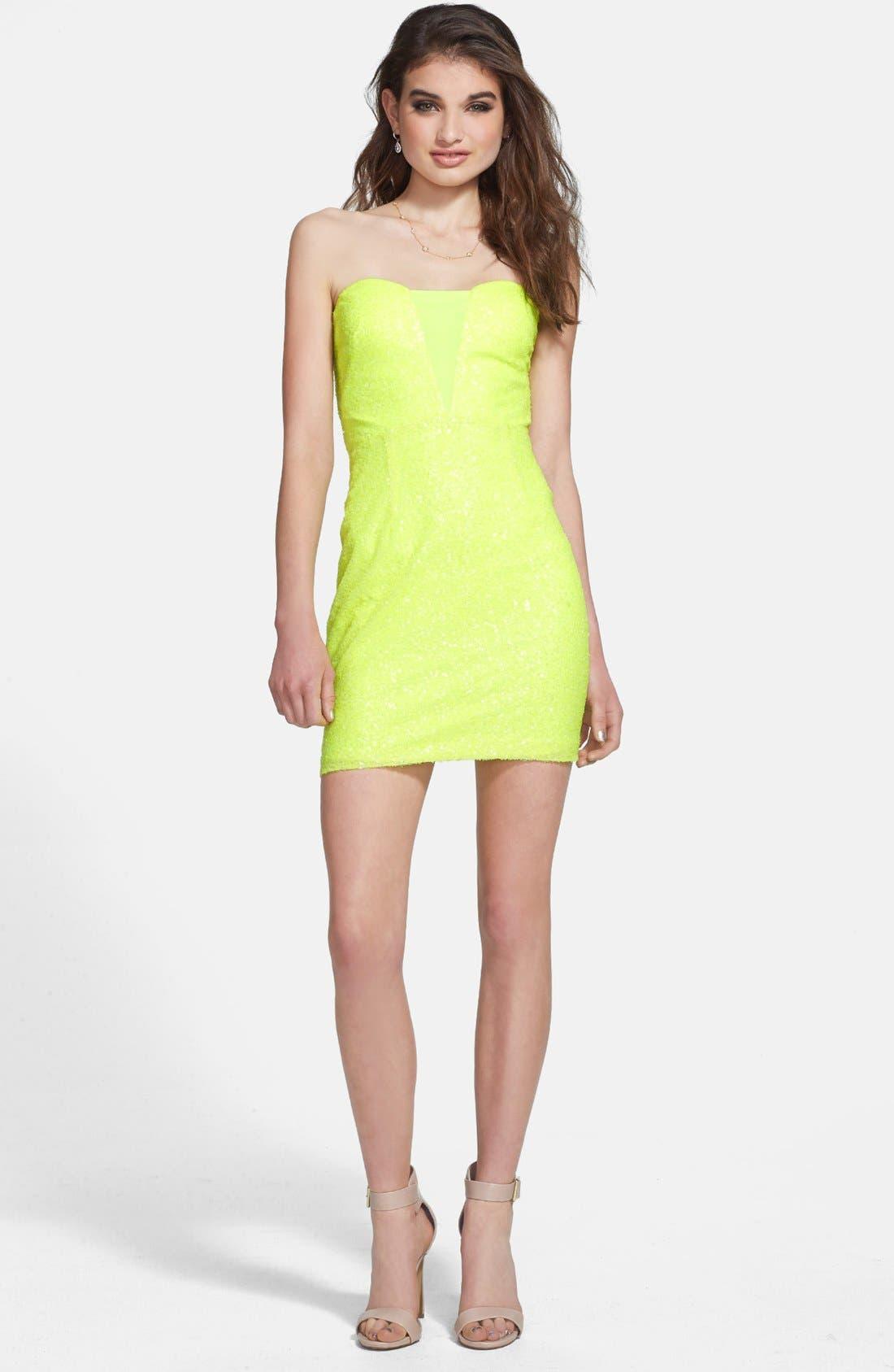 Alternate Image 1 Selected - Hailey Logan Back Cutout Sequin Body-Con Dress (Juniors)