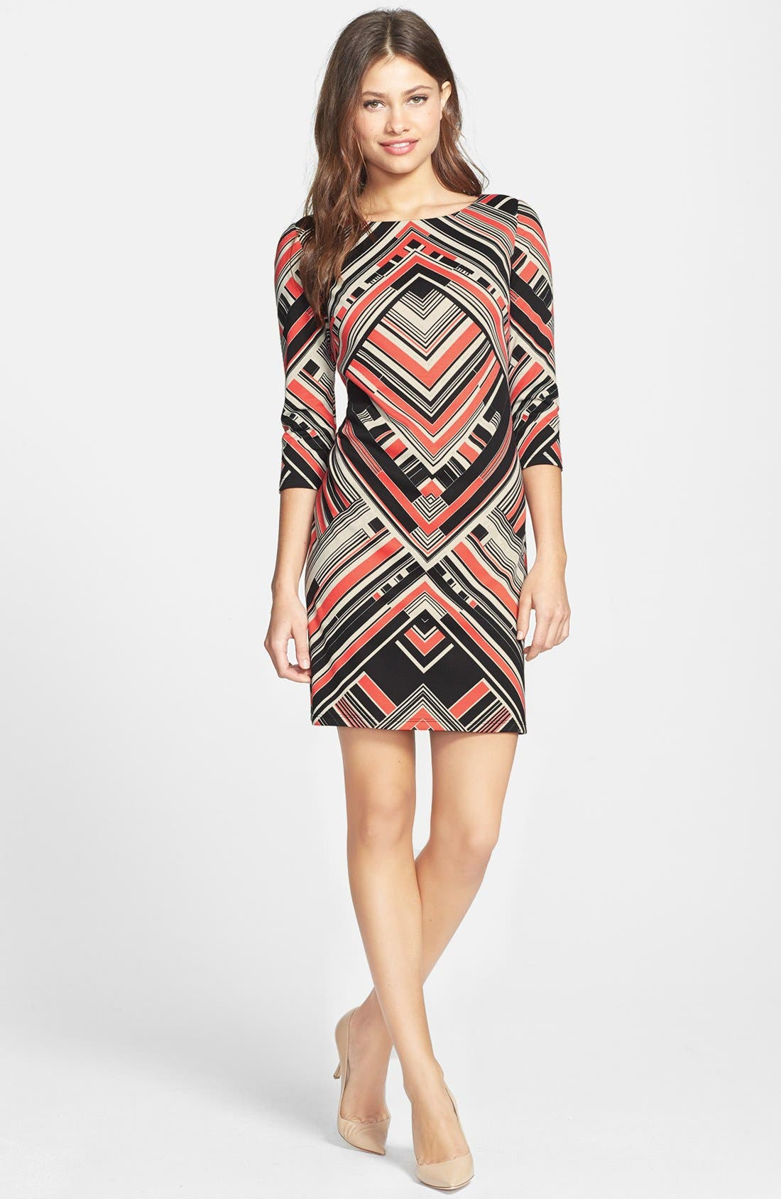 Alternate Image 2  - Vince Camuto Print Ponte Shift Dress