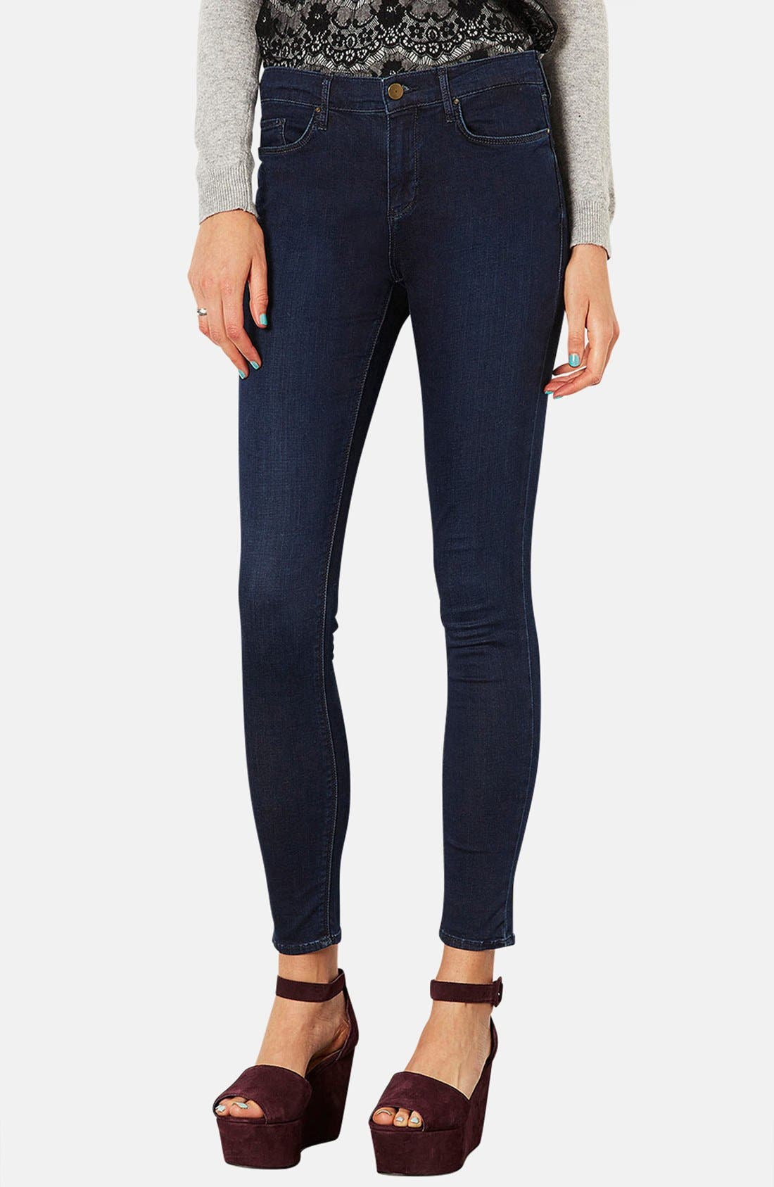 Main Image - Topshop Moto 'Leigh' Skinny Jeans (Blue Black) (Regular & Long)