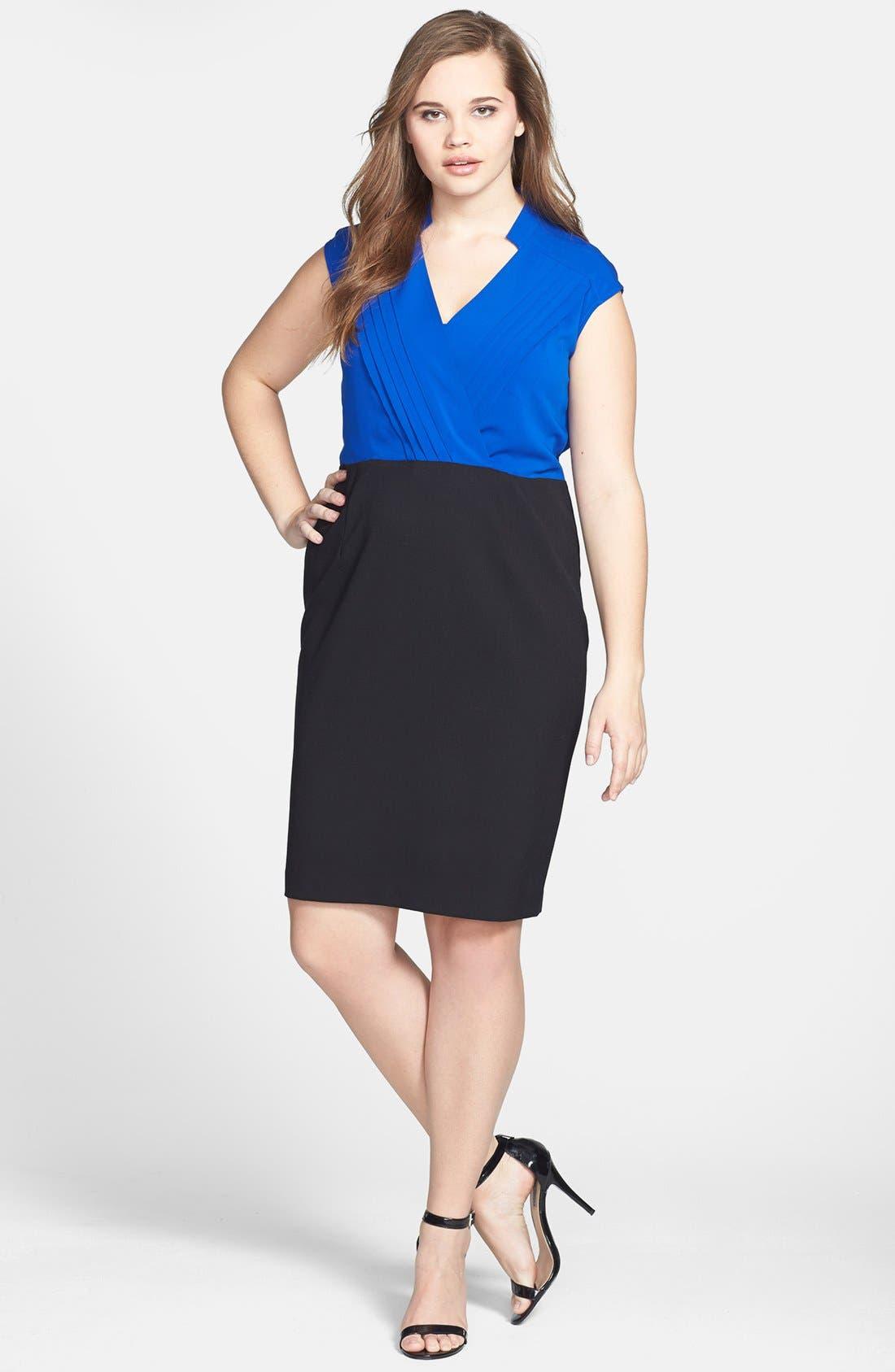 Main Image - Calvin Klein Cap Sleeve Colorblock Dress (Plus Size)