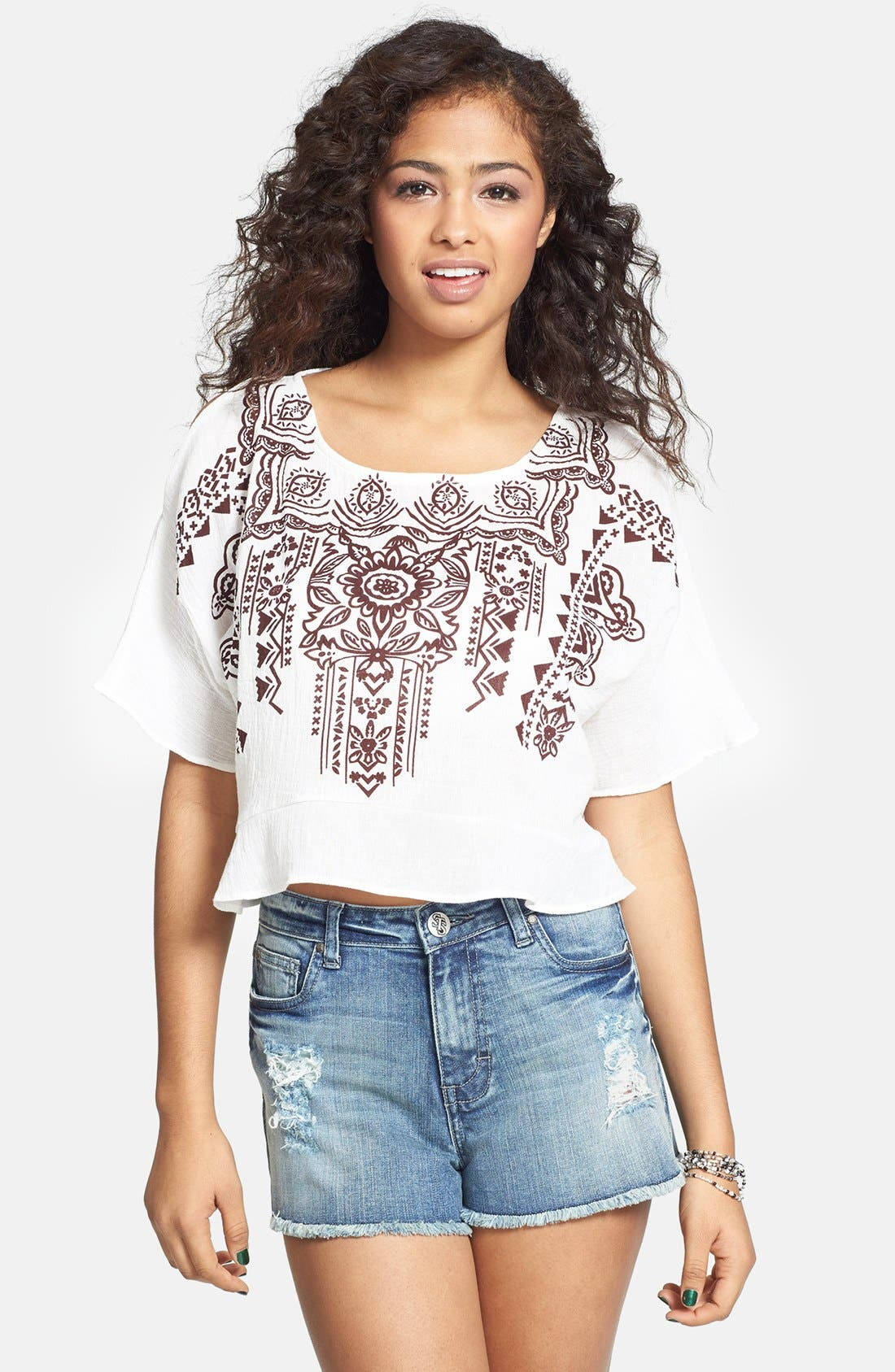 Alternate Image 1 Selected - Haute Society Cutout Cold Shoulder Top (Juniors)